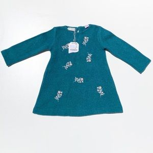Zara Baby Long Sleeve Blue Embroidered Dress 2/3T